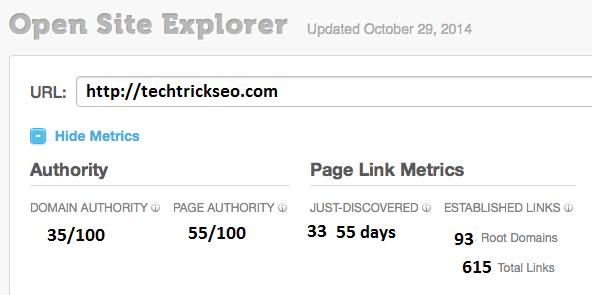 OpenSiteExplorer techtrickseo.com