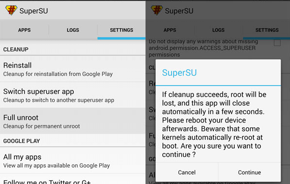 how to unroot android phone