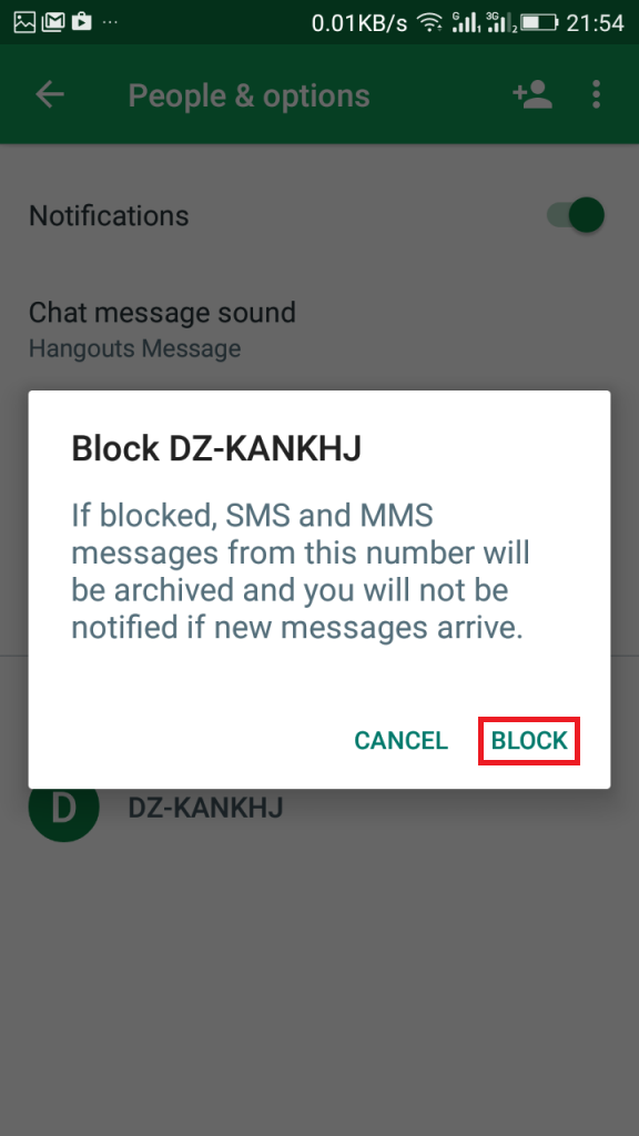how to block unwanted text messages n Android Using Hangouts