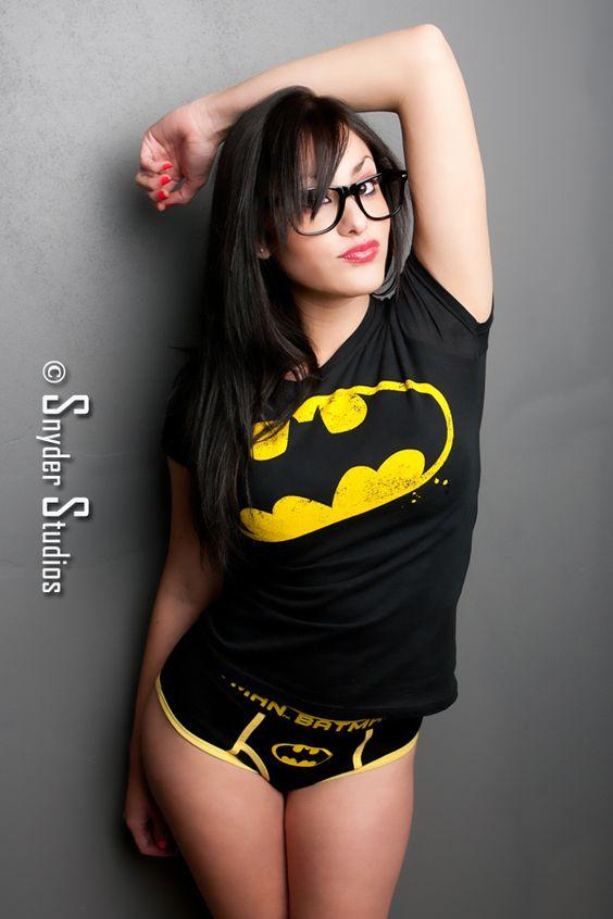 sexy girl in a batman t-shirt