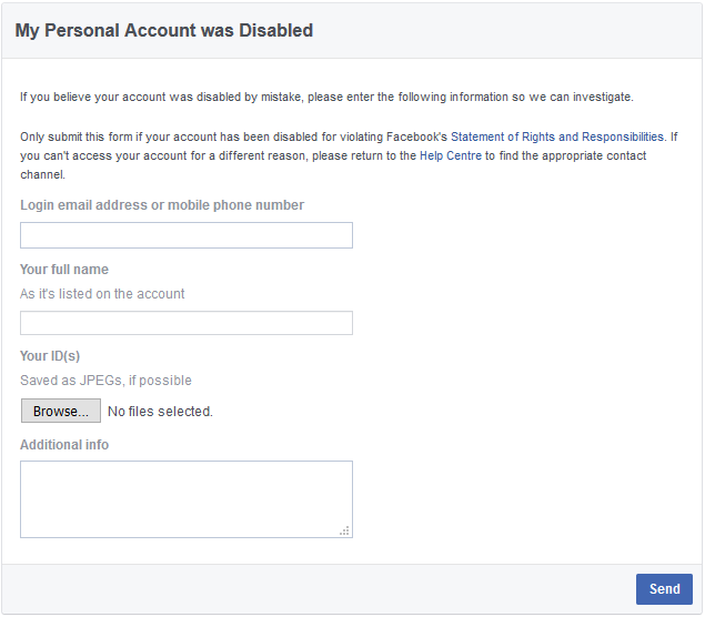 Facebook account disabled reactivate