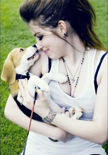 girl with puppy cute DP